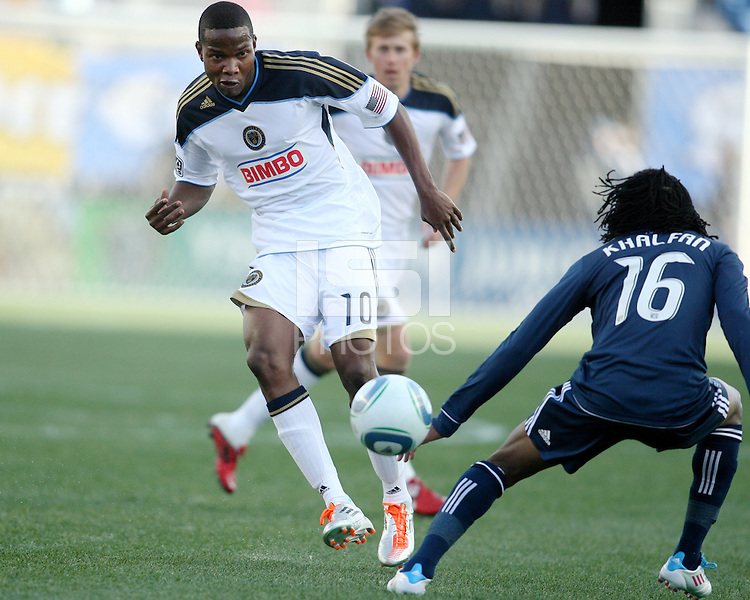 Danny Mwanga#10 of the Philadelphia Union shoots the ball past Nizar Khalfan#16 of the Vancouver Whitecaps during an MLS match at PPL Park in Chester, PA. on March 26 2011. Union won 1-0.