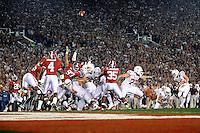 Jan 7, 2010; Pasadena, CA, USA; Texas Longhorns kicker (15) Hunter Lawrence kicks a field goal during the 2010 BCS national championship game against the Alabama Crimson Tide at the Rose Bowl. Alabama defeated Texas 37-21. Mandatory Credit: Mark J. Rebilas-.