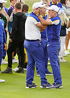 Jon Rahm (Team Europe) Sergio Garcia (Team Europe) after the singles matches at the Ryder Cup, Le Golf National, Ile-de-France, France. 30/09/2018.<br /> Picture Fran Caffrey / Golffile.ie<br /> <br /> All photo usage must carry mandatory copyright credit (&copy; Golffile | Fran Caffrey)