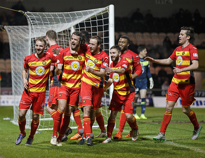 Dan Seaborne scores the opening goal for Partick Thistle and celebrates