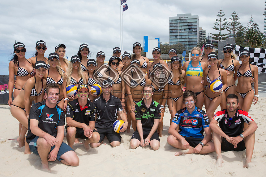 V8 Supercars drivers and Miss V8 Supercars entrants took to the beach for a friendly game of beach volleyball ahead of this weekends Castrol EDGE Gold Coast 600, Event 12 of the 2014 Australian V8 Supercar Championship Series at Gold Coast Street Circuit, Gold Coast, October 22, 2014.© Sport the library / Edge Photographics