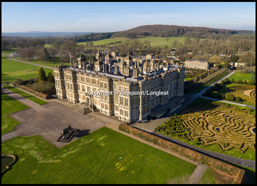 BNPS.co.uk (01202 558833)<br /> Pic: Viewpoint/Longleat/BNPS<br /> <br /> Drone view of the Elizabethan mansion.<br /> <br /> A stunning model of one of Britain's finest stately homes has been painstakingly restored after languishing in a store room for the last seven years.<br /> <br /> The 1/25 scale model of Longleat House in Wiltshire was commissioned by the 6th Marquess of Bath in 1988 and went on display in the 16th Century mansion's butchery.<br /> <br /> But it was broken up into 50 pieces and put into storage when the home underwent renovations several years ago.<br /> <br /> Kim Ward, 60, and his six man team have spent the past two months restoring the model to its former glory.