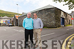 Junior Murphy and Geoffrey O'Connor pictured here outside the old Penal Church & Hedge School in Cahersiveen at the entrance to the Car Park where a mass will be held during the O'Connell School Weekend for the first time in over 200 years.