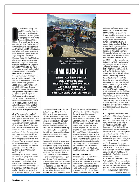 German weekly magazine stern on the production of fake news in Veles, Macedonia, 11.2016.<br />