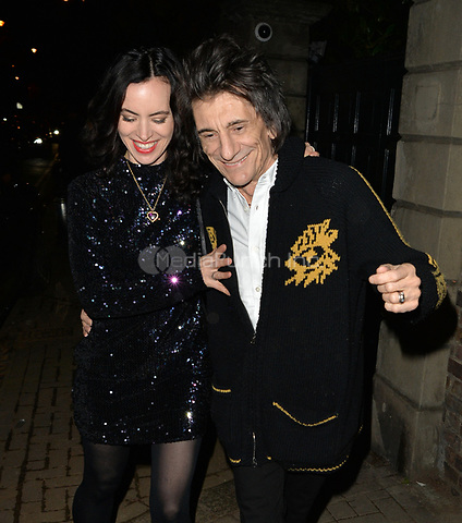 Ronnie Wood and Sally Humphreys attending Rolling Stone Mick Jagger's Christmas party in London, UK.<br /> <br /> DECEMBER 13th 2018. Credit: Matrix/MediaPunch ***FOR USA ONLY***<br /> <br /> REF: LTN 184623
