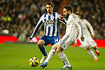 Real Madrid´s Daniel Carvajal and Deportivo de la Coruna's Isaac Cuenca during 2014-15 La Liga match between Real Madrid and Deportivo de la Coruna at Santiago Bernabeu stadium in Madrid, Spain. February 14, 2015. (ALTERPHOTOS/Luis Fernandez)