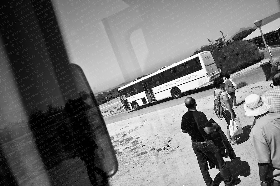Busses stop at see side on Robben Island, South Africa, March 16, 2011. Former ANC president and Nobel Peace Prize winner Nelson Mandela spent much of his 27-year imprisonment on Robben Island..
