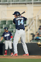 Damek Tomscha (14) of the Lakewood BlueClaws at bat against the Kannapolis Intimidators at Kannapolis Intimidators Stadium on August 11, 2016 in Kannapolis, North Carolina.  The Intimidators defeated the BlueClaws 3-1.  (Brian Westerholt/Four Seam Images)