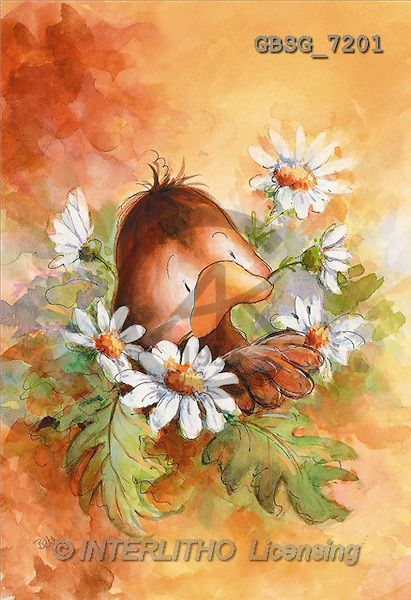Ron, CUTE ANIMALS, Quacker, paintings, br.duck, marguerit(GBSG7201,#AC#) Enten, patos, illustrations, pinturas