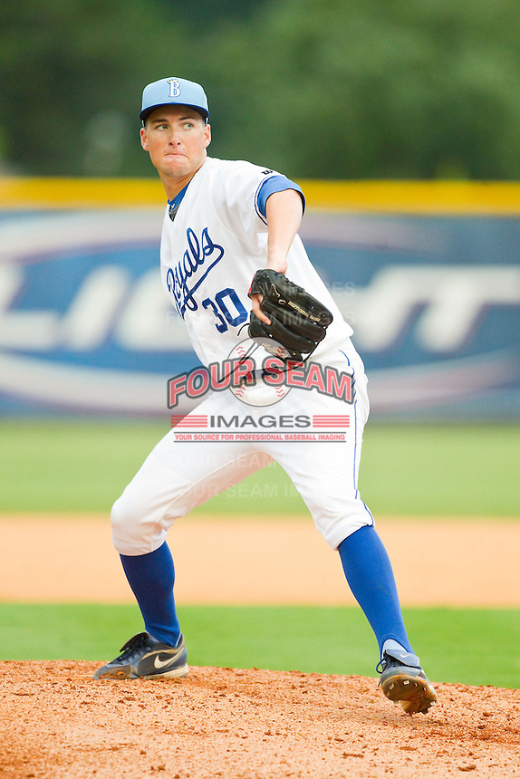 Burlington Royals relief pitcher Sam Lewis (30) in action against the Elizabethton Twins at Burlington Athletic Park on August 11, 2013 in Burlington, North Carolina.  The Twins defeated the Royals 12-5.  (Brian Westerholt/Four Seam Images)