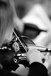 Violinist viewed over her shoulder