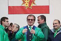 Pontida:  Umberto Bossi, Roberto Cota, Roberto Maroni, Roberto Calderoli e Francesco Belsito durante il raduno di Pontida del 2010
