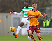 18th March 2018, Fir Park, Motherwell, Scotland; Scottish Premiership football, Motherwell versus Celtic;  Odsonne Edouard and Richard Tait challenge for the ball