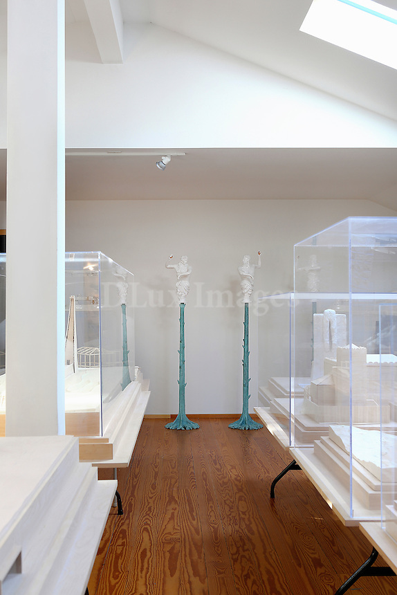 Showcases with artworks