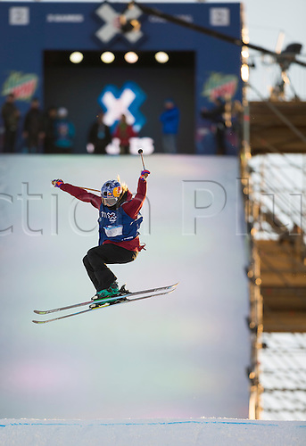 27.02.2016. Toyen, Big Jump Oslo, Norway.  Red Bull X Games Oslo 2016. Ladies Ski Big Air Final. Kaya Turski of Canada in action during the Ladies Ski Big Air Final at the Red Bull X Games Oslo 2016 in Toyen Big Jump  Oslo, Norway.