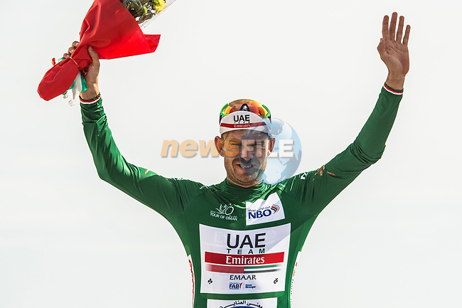 Alexander Kristoff (NOR) UAE Team Emirates retakes the points Green Jersey at the end of Stage 4 of 10th Tour of Oman 2019, running 131km from Yiti (Al Sifah) to Oman Convention and Exhibition Centre, Oman. 19th February 2019.<br /> Picture: ASO/Kåre Dehlie Thorstad | Cyclefile<br /> All photos usage must carry mandatory copyright credit (© Cyclefile | ASO/Kåre Dehlie Thorstad)