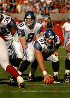 Nov. 6, 2005; Tempe, AZ, USA; Center (61) Robbie Tobeck of the Seattle Seahawks prepares to snap the ball to quarterback (8) Matt Hasselbeck against the Arizona Cardinals at Sun Devil Stadium. Mandatory Credit: Mark J. Rebilas