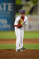 Auburn Doubledays relief pitcher Alfonso Hernandez (22) looks in for the sign during a game against the Hudson Valley Renegades on September 5, 2018 at Falcon Park in Auburn, New York.  Hudson Valley defeated Auburn 11-5.  (Mike Janes/Four Seam Images)