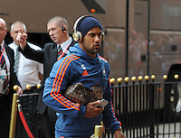 Wayne Routledge of Swansea City arrives at the Stadium of Light before kick off during the Barclays Premier League match between Sunderland and Swansea City played at Stadium of Light, Sunderland
