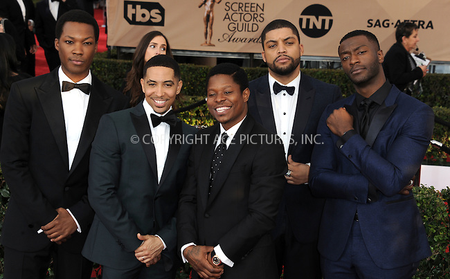 WWW.ACEPIXS.COM<br /> <br /> January 30 2016, LA<br /> <br /> The cast of Straight Outta Compton arriving at the 22nd Annual Screen Actors Guild Awards at the Shrine Auditorium on January 30, 2016 in Los Angeles, California<br /> <br /> By Line: Peter West/ACE Pictures<br /> <br /> <br /> ACE Pictures, Inc.<br /> tel: 646 769 0430<br /> Email: info@acepixs.com<br /> www.acepixs.com