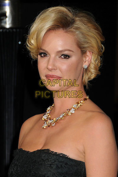 Katherine Heigl.'New Year's Eve' Los Angeles premiere at  Grauman's Chinese Theatre, Hollywood, California, USA..5th December 2011.headshot portrait black lace strapless gold necklace diamonds .CAP/ADM/BP.©Byron Purvis/AdMedia/Capital Pictures.