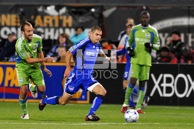 Graham Zusi #28, Peter Vagenas...Kansas City Wizards were defeated 3-2 by Seattle Sounders at Community America Ballpark, Kansas City, Kansas.