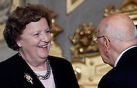 Il Ministro della Giustizia Anna Maria Cancellieri sorride al Presidente della Repubblica Giorgio Napolitano, destra, alla cerimonia del giuramento del nuovo governo al Quirinale, Roma, 28 aprile 2013..Italian Justice Minister Anna Maria Cancellieri smiles to Head of State Giorgio Napolitano, right, during the swearing in ceremony of the new government at the Quirinale presidential palace Rome, 28 April 2013..UPDATE IMAGES PRESS/Isabella Bonotto