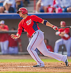 9 March 2013: Washington Nationals third baseman Carlos Rivero in action during a Spring Training game against the Miami Marlins at Space Coast Stadium in Viera, Florida. The Nationals edged out the Marlins 8-7 in Grapefruit League play. Mandatory Credit: Ed Wolfstein Photo *** RAW (NEF) Image File Available ***