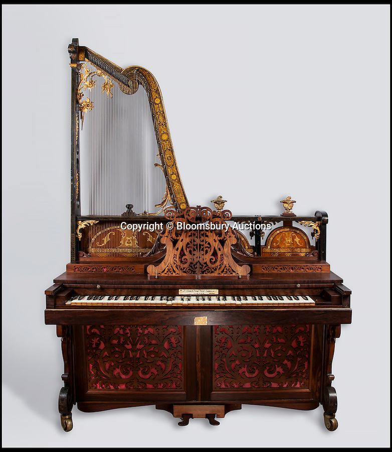 BNPS.co.uk (01202 558833)<br /> Pic: BloomsburyAuctions/BNPS<br /> <br /> A euphonicon by Frederick Beale estimate £5,000.<br /> <br /> No strings attached - Worlds finest collection of historic piano's up for sale…<br /> <br /> An incredible collection of historic pianos and musical instruments that have been on display in a grand country home for four decades are expected to fetch more than half a million pounds at auction.<br /> <br /> The array of antique pianos, clavichords, harpsichords and other instruments, which span 350 years of music history, were accumulated by concert pianist Richard Burnett and stored at Finchcocks, his baroque house in idyllic Kent countryside near Tunbridge Wells.<br /> <br /> More than 70 keyboard instruments, including some of the best playing instruments in the world, are up for sale, with some expected to fetch up to £70,000.<br /> <br /> The sale by Dreweatts Auctions in Newbury, Berkshire, is on May 11.