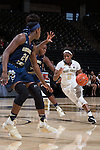 Amber Campbell (2) of the Wake Forest Demon Deacons drives past a Georgia Tech Yellow Jackets defender during second half action at the LJVM Coliseum on January 22, 2017 in Winston-Salem, North Carolina.  The Demon Deacons defeated the Yellow Jackets 70-65 in overtime.  (Brian Westerholt/Sports On Film)