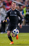 Real Salt Lake forward Brooks Lennon (12) moves the ball in the second half Saturday, April 21, 2018, during the Major League Soccer game at Rio Tiinto Stadium in Sandy, Utah. RSL beat the Colorado Rapids 3-0. (© 2018 Douglas C. Pizac)