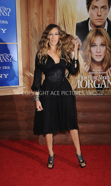 WWW.ACEPIXS.COM . . . . . ....December 14 2009, New York City....Actress Sarah Jessica Parker arriving at the Premiere of 'Did you here about the Morgans?' at the Ziegfeld Theatre on December 14 2009 in New York City....Please byline: KRISTIN CALLAHAN - ACEPIXS.COM.. . . . . . ..Ace Pictures, Inc:  ..(212) 243-8787 or (646) 679 0430..e-mail: picturedesk@acepixs.com..web: http://www.acepixs.com