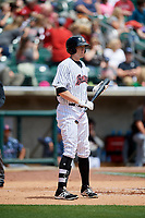 Birmingham Barons left fielder Cameron Seitzer (33) at bat during a game against the Jacksonville Jumbo Shrimp on April 24, 2017 at Regions Field in Birmingham, Alabama.  Jacksonville defeated Birmingham 4-1.  (Mike Janes/Four Seam Images)