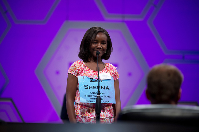 Speller 220.Sheena Wandia Chege competes in the preliminary rounds of the Scripps National Spelling Bee at the Gaylord National Resort and Convention Center in National Habor, Md., on Wednesday,  May 30, 2012. Photo by Bill Clark