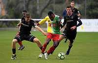 Andy Bevin (Team Wellington), Raymond Gunemba (Lae City Dwellers) and Mario Ilich compete for the ball during the 2018 OFC Champions League Quarterfinal between Team Wellington and Lae City Dwellers FC at David Farrington Park in Wellington, New Zealand on Saturday, 7 April 2018. Photo: Dave Lintott / lintottphoto.co.nz