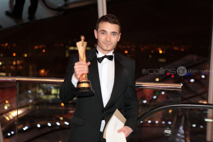 12/2/11 Martin McCann, Best Actor in a Lead Role for Swansong_Story of Occi Byrne,  at the 8th Irish Film and Television Awards at the Convention centre in Dublin. Picture:Arthur Carron/Collins