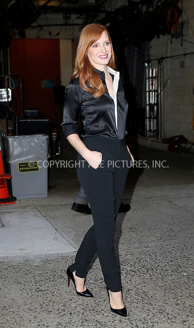 ACEPIXS.COM<br /> <br /> November 3 2014, New York City<br /> <br /> Actress Jessica Chastain made an appearance at The Kelly and Michael Show on November 3 2014 in New York City<br /> <br /> <br /> By Line: Nancy Rivera/ACE Pictures<br /> <br /> ACE Pictures, Inc.<br /> www.acepixs.com<br /> Email: info@acepixs.com<br /> Tel: 646 769 0430