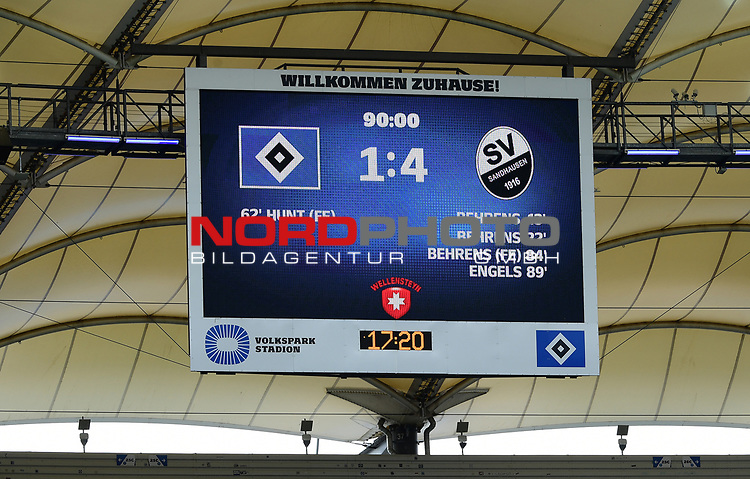 Anzeigetafel im Volksparkstadion<br />Hamburg, 28.06.2020, Fussball 2. Bundesliga, Hamburger SV - SV Sandhausen<br />Foto: VWitters/Witters/Pool//via nordphoto<br /> DFL REGULATIONS PROHIBIT ANY USE OF PHOTOGRAPHS AS IMAGE SEQUENCES AND OR QUASI VIDEO<br />EDITORIAL USE ONLY<br />NATIONAL AND INTERNATIONAL NEWS AGENCIES OUT