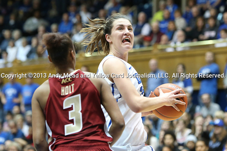 27 January 2013: Duke's Haley Peters (right) and Boston College's Tessah Holt (3). The Duke University Blue Devils played the Boston College Eagles at Cameron Indoor Stadium in Durham, North Carolina in an NCAA Division I Women's Basketball game. Duke won the game 80-56.