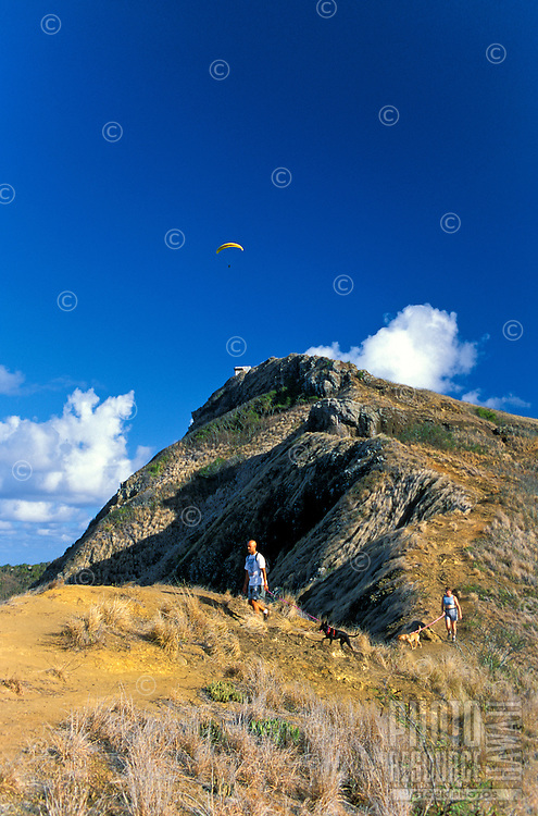 Hiking along the scenic Lanikai Ridge Trail on the windward side of Oahu.