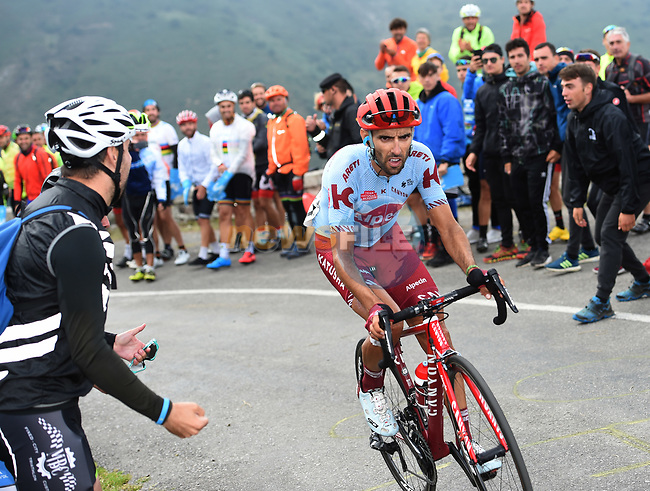 Daniel Navarro Garcia (ESP) Team Katusha Alpecin on the final climb of Stage 16 of La Vuelta 2019  running 144.4km from Pravia to Alto de La Cubilla. Lena, Spain. 9th September 2019.<br /> Picture: Karlis | Cyclefile<br /> <br /> All photos usage must carry mandatory copyright credit (© Cyclefile | Karlis)