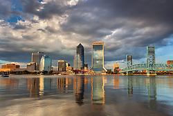 The iconic skyline of Jacksonville at sunrise.