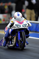 Sept. 16, 2011; Concord, NC, USA: NHRA pro stock motorcycle rider Hector Arana Jr. during qualifying for the O'Reilly Auto Parts Nationals at zMax Dragway. Mandatory Credit: Mark J. Rebilas-US PRESSWIRE
