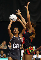 22.02.2018 Fiji's Alesi Paul in action during the Fiji v Malawi Taini Jamison Trophy netball match at the North Shore Events Centre in Auckland. Mandatory Photo Credit ©Michael Bradley.