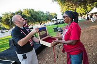 STANFORD, CA - August 12, 2018: Stanford Football Season Ticket Member Kickoff BBQ at Chuck Taylor Grove.