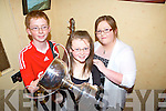 Winners in this year's National Fleadh were members of the Broderick family from Abbeyfeale, pictured here in TJ O'Connells Bar, Abbeyfeale last Friday night, l-r: Michea?l(2nd place in 12-15 groupai cheoil), Eibhli?n(1st place in English singing and Lilting) and Catherine Murphy(3rd place in Snr English singing).
