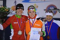 SCHAATSEN: DEVENTER: IJsbaan De Scheg, 26-10-12, IJsselcup, podium 3000m, Elma de Vries, Antoinette de Jong, Mariska Huisman, ©foto Martin de Jong