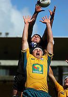 NZ captain Kane Barrett beats Nick Buchanan during the International rugby match between New Zealand Secondary Schools and Suncorp Australia Secondary Schools at Yarrows Stadium, New Plymouth, New Zealand on Friday, 10 October 2008. Photo: Dave Lintott / lintottphoto.co.nz