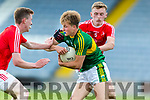 Fiáchra Clifford Kerry in action against Leonard Grey Louth in the All Ireland Minor Football Quarter Finals at O'Moore Park, Portlaoise on Saturday.