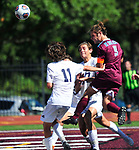 DeSmet's Nick Grewe leaps and heads the ball towards the goal as he's pressured by Francis Howell Central's Tanner Jones (left). Francis Howell Central played soccer at DeSmet on Saturday September 14, 2019.<br /> Tim Vizer/Special to STLhighschoolsports.com
